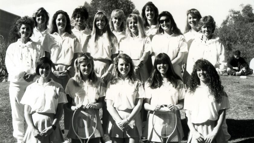 Liz LaPlante, UC San Diego women's tennis coach (far left) in 1989.
