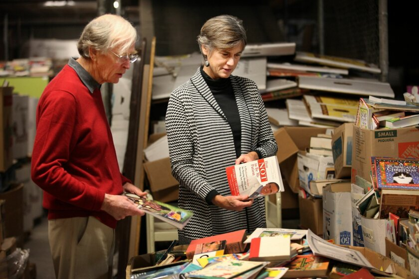Since 2007, Mike and Terry Meaney have run the San Diego Book Project, an all-volunteer nonprofit that has distributed more than 700,000 donated books to schools, retirement homes, jails, shelters and libraries overseas. They sort and box their books in a large rented warehouse in downtown's East V