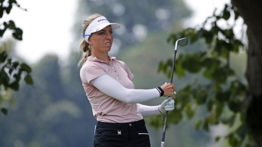 Sophia Popov follows through on a tee shot during the final round of the Marathon Classic LPGA tournament Aug. 9, 2020.