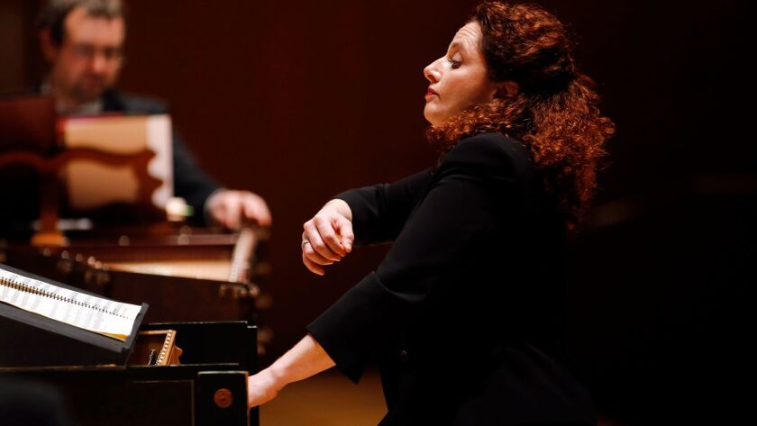LOS ANGELES, CALIFORNIA-APRIL 10, 2015: The riveting French early music specialist Emanuelle Ha•m, l