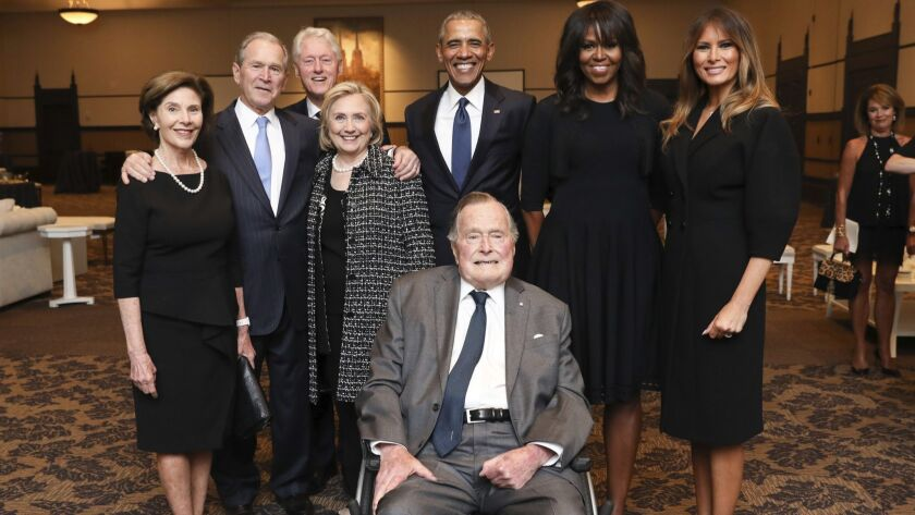 Former President George H.W. Bush, front center, and past presidents and first ladies at Barbara Bush's funeral on Saturday.