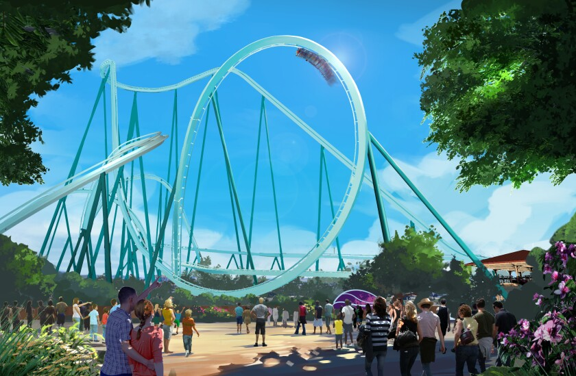 Rendering depicts the planned Emperor roller coaster that SeaWorld is saying will be the tallest, fastest and longest dive coaster in California. It is expected to debut in 2020.