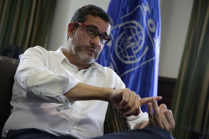 En la imagen, el representante de la Organización Internacional para las Migraciones (OIM) organismo para el Triángulo Norte de Centroamérica, Jorge Peraza. EFE/Archivo