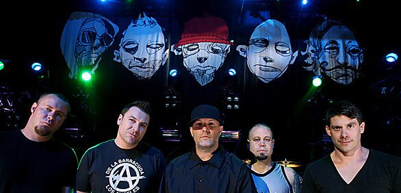 LAS VEGAS, NV - JULY 18, 2009: The band Limp Bizkit, Sam Rivers, left, DJ Lethal, Fred Durst, John Otto andWes Borland, poses for a photo prior to a free concert at The Pearl inside the Palms Casino Resort Saturday, July 18, 2009 in Las Vegas. The band is back together after an eight year hiatus. (Isaac Brekken for the Times)