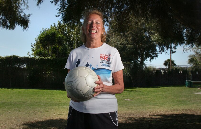 Claire Knight, 70, is an avid soccer player with the San Diego senior women's league.
