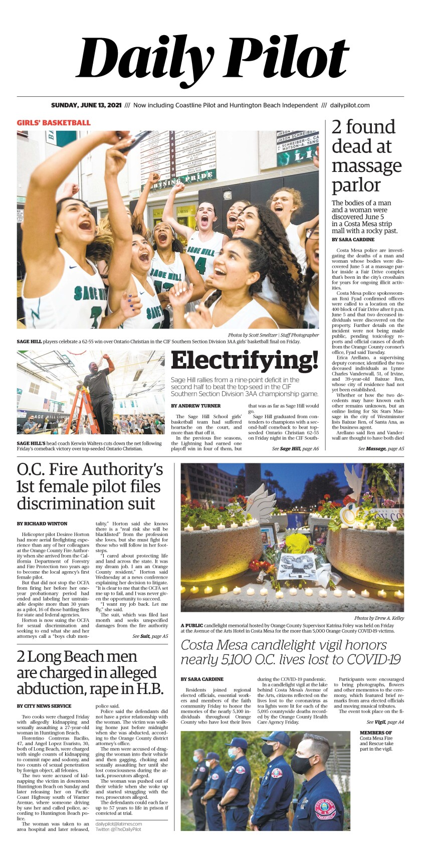 Front page of Daily Pilot e-newspaper for Sunday, June 13, 2021.