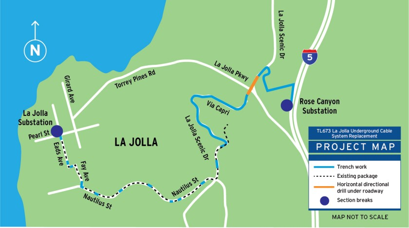 An SDG&E project to place power cables underground will go up Mount Soledad and connect to a substation via Nautilus Street.