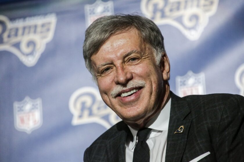 Los Angeles Rams owner Stan Kroenke smiles during a news conference to celebrate his team's return to Los Angeles.