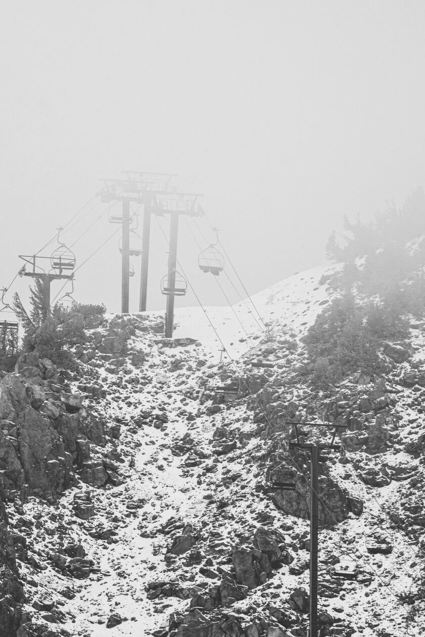 The lifts at Mammoth will open Nov. 9. On Thursday, the mega-mountain received its first snow.