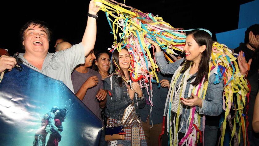 Fans of Mexican director Guillermo del Toro celebrate at La Minerva square in Guadalajara, Mexico, on March 4, 2018.