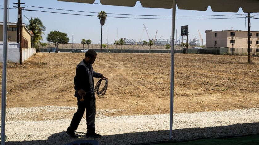 A view of the vacant land and site of the proposed Clippers Arena Inglewood project in Inglewood.