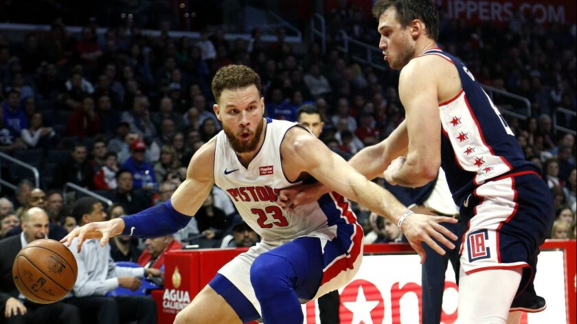 Detroit's Blake Griffin dribbles past the Clippers' Danilo Gallinari in scoring 44 points on Saturday.