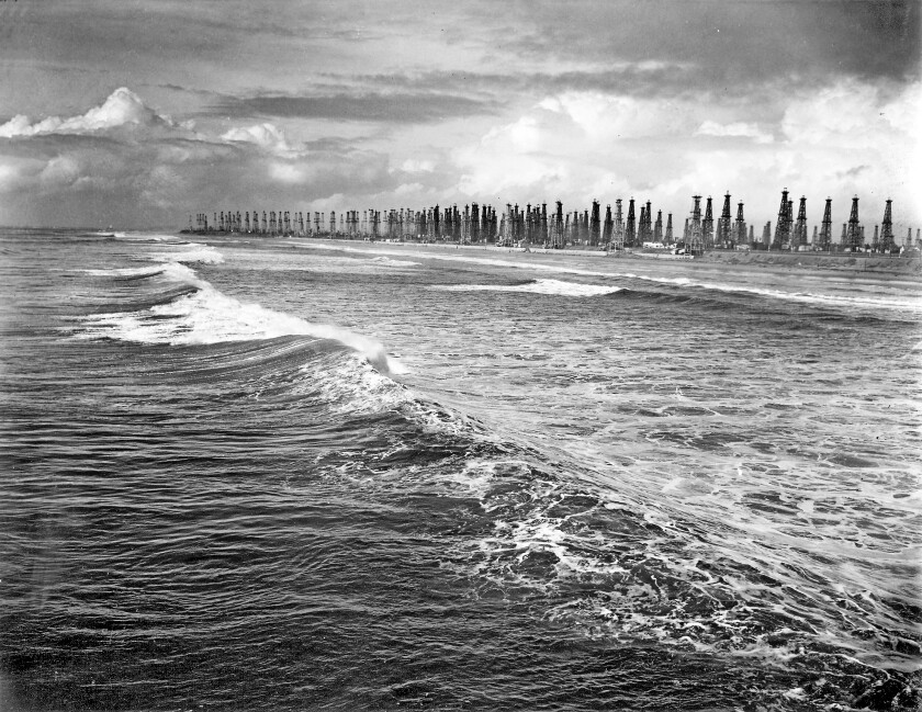 The Huntington Beach coastline in 1940 was lined with oil derricks.