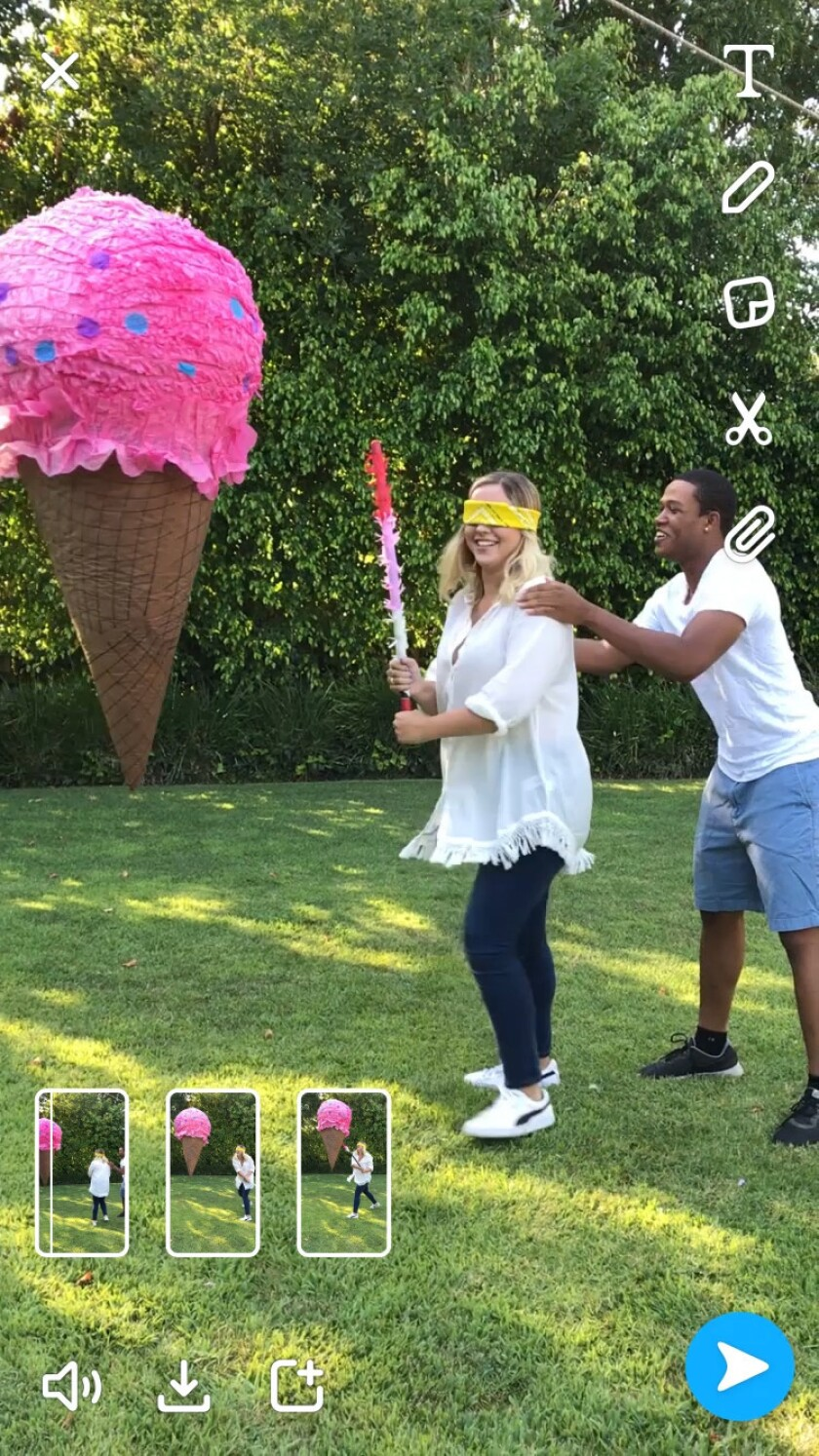 A screenshot from Snapchat shows a new multi-snap recording feature, with three 10-second clips prod