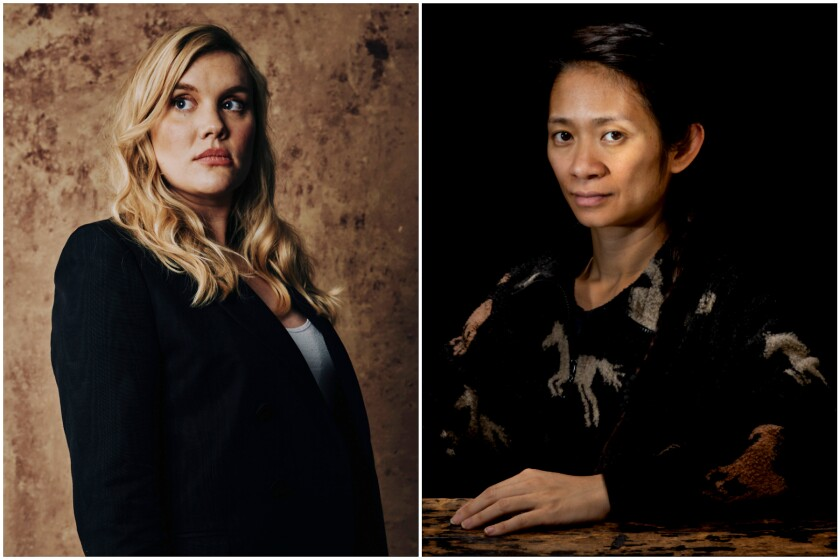 Writer-director Emerald Fennell and writer-director Chloé Zhao