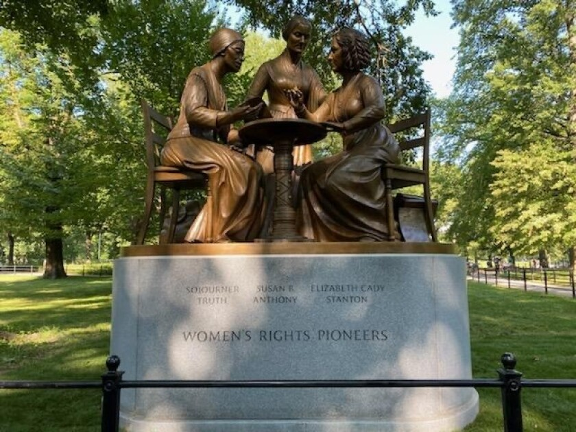 The Women's Rights Pioneers Monument in New York's Central Park was unveiled Aug. 26.