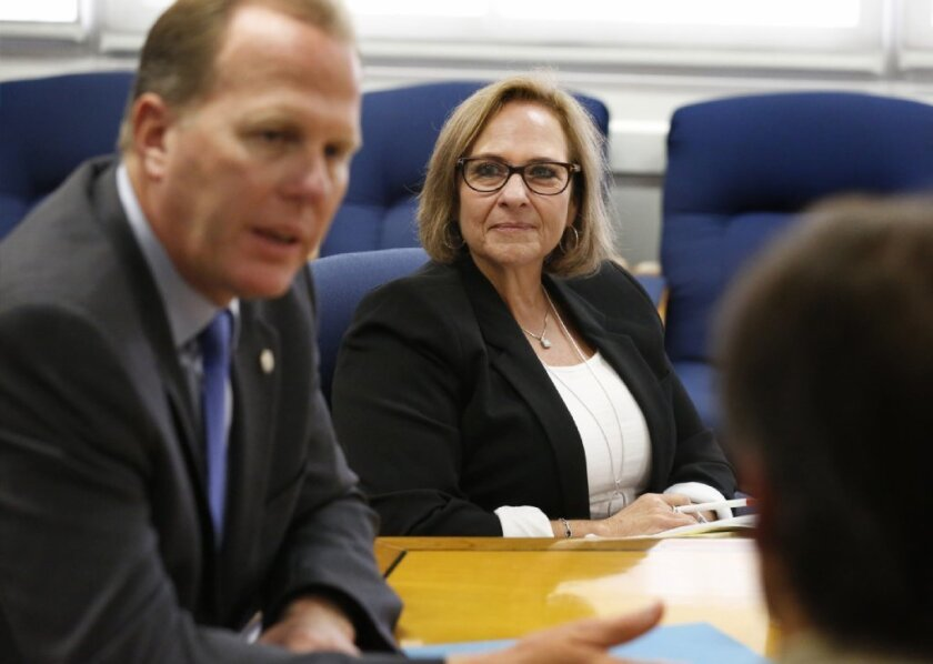 Mayor Kevin Faulconer and senior adviser on housing solutions Stacie Spector.