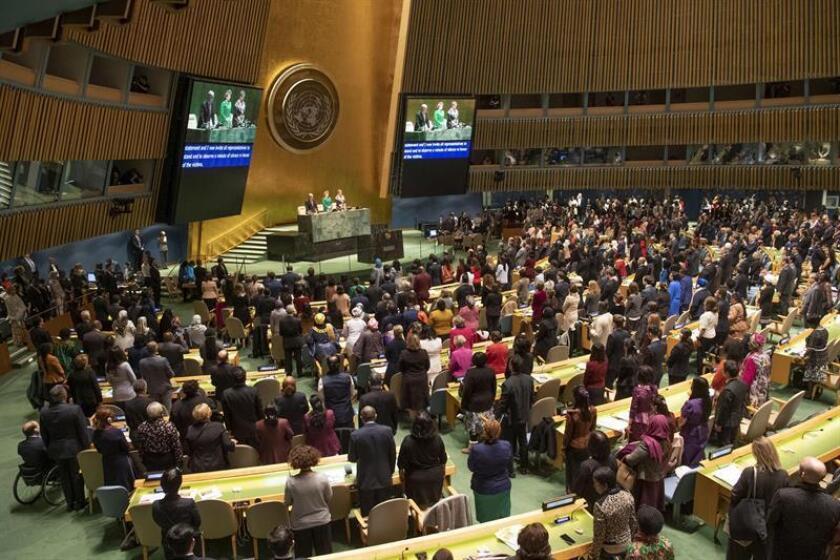 Fotografía cedida por la ONU donde se observa a los participantes de la sesión inaugural de la 63? sesión de la Comisión en la sede de la ONU en Nueva York (EE.UU.). EFE/Evan Schneider/ONU/SOLO USO EDITORIAL/NO VENTAS