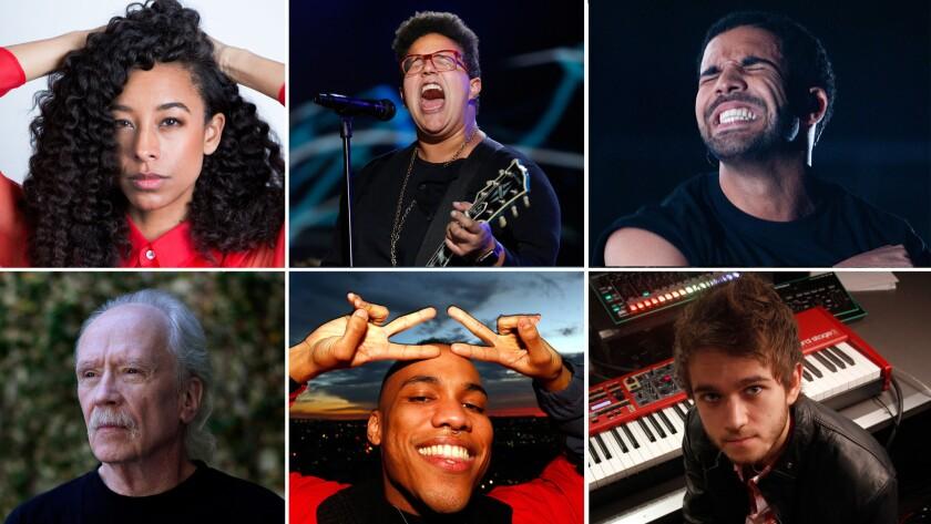 Clockwise from top left: Corinne Bailey Rae, Alabama Shakes, Drake, Zedd, Anderson .Paak, John Carpenter