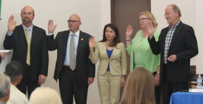 La Jolla Town Council's new officers take the oath of office May 8: President Steve Haskins, Secretary Charles Hartford, Second Vice President Yolanda de Riquer, First Vice President Glenda Rothberg and Treasurer Ron Jones. Pat Sherman