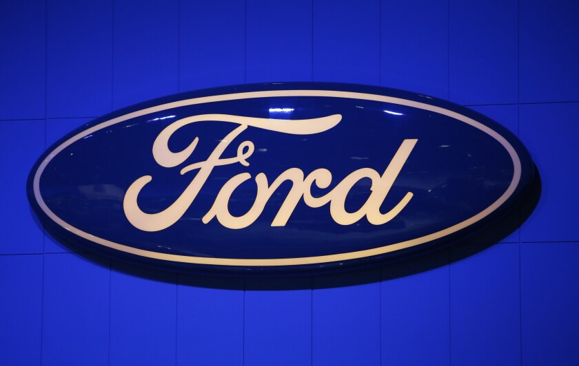 A Ford Motor Co. logo at the Los Angeles Auto Show in Nov. 29, 2012.
