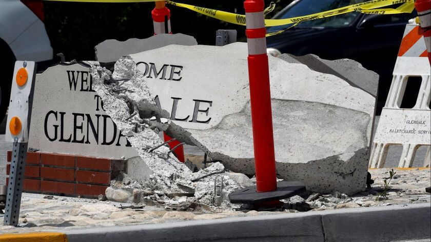 """The """"Welcome to Glendale"""" sign on Foothill Blvd. at Pennsylvania Ave was struck by a vehicle that fl"""