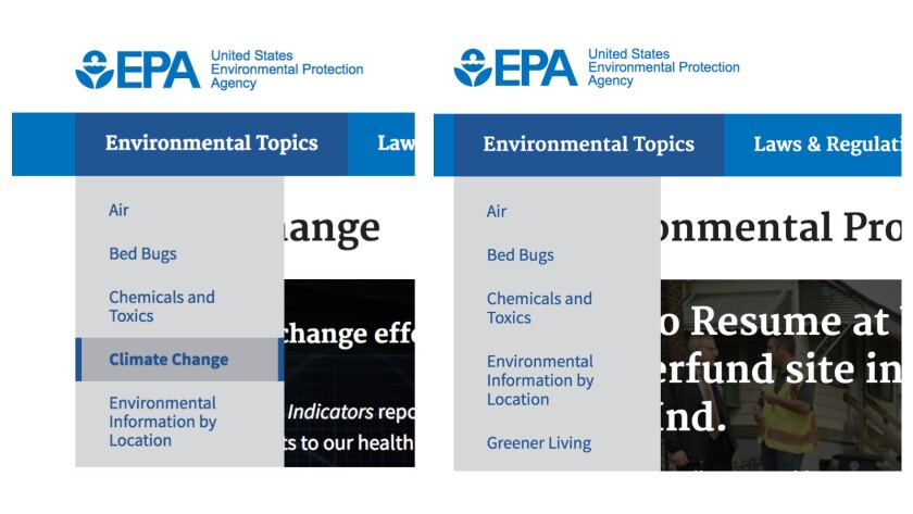 """The EPA website's new look: The agency's pre-Trump homepage (left) listed climate change among """"Envi"""
