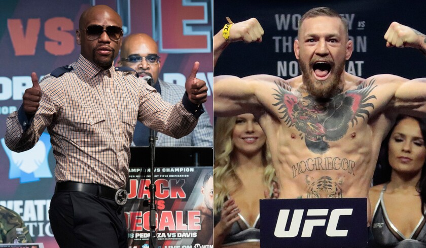 Retired boxer Floyd Mayweather Jr., left, and UFC's Conor McGregor would be a dream matchup for fight fans.