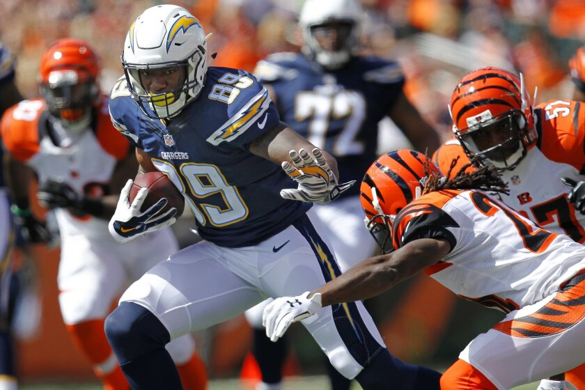 Chargers Ladarius Green runs after catching a pass against the Bengals in the 2nd quarter.