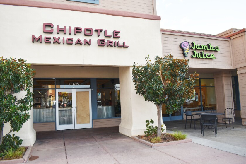 On Monday afternoon the front door of Chipotle Mexican Grill and other restaurants at Creekside Plaza were boarded up.