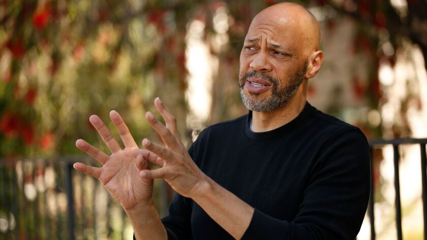 "Oscar winning filmmaker John Ridley in Lake View Terrace near the site of the Rodney King beating by police officers. Ridley has directed ""Let It Fall,"" a look at the 1992 Los Angeles riots."
