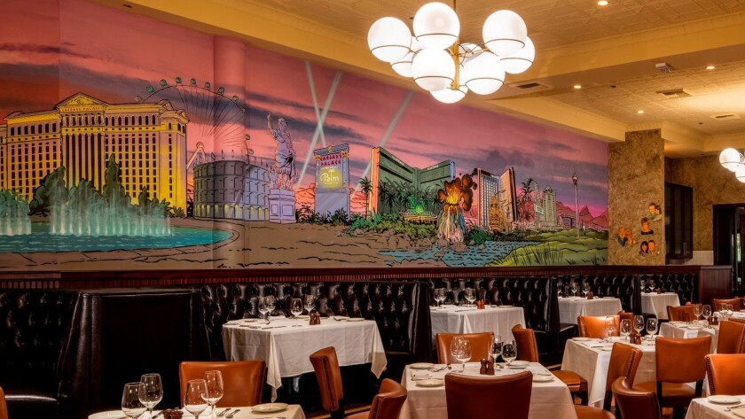 Artist Zack Bird of Philadelphia recently completed his mural of the Las Vegas Strip. It adorns a wall at the Palm, which will welcome Super Bowl fans with a Sunday Supper Special.