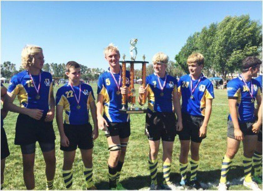 Victory moment with the winning trophy: Jacob Jenkins, Ethan Stotts, Blake Richards-Smith, Niklas Lundqvist, Wesley Tyler, Caleb Armendariz.