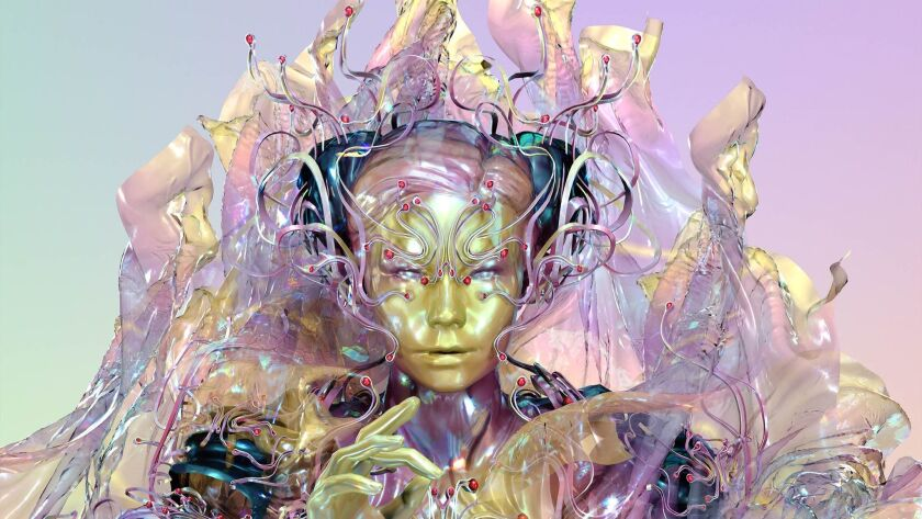 """A print of a Björk avatar from the virtual reality experience """"Family,"""" part of the """"Björk Digital"""""""