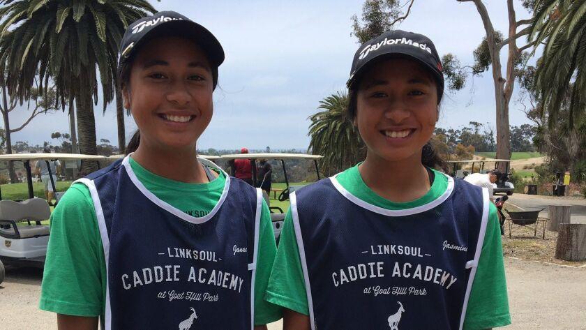 El Camino high school golfers Janae Leovao (left) and Jasmine Leovao