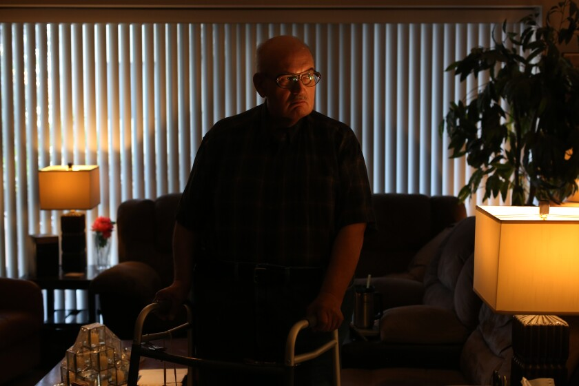 Gregory Kuhl, 69, in the Hollywood apartment where he has lived for 40 years.