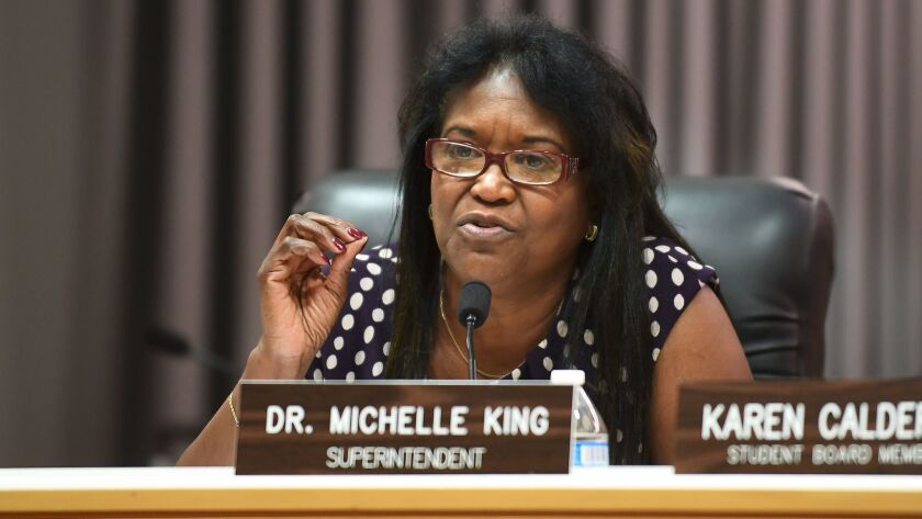 LOS ANGELES-CA-JUNE 20, 2017: Superintendent Michelle King speaks during an LAUSD board meeting in d