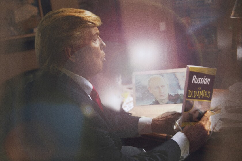 "The photograph ""Trump Russian for Dummies"" shows a look-alike Donald Trump looking at a ""Russian for Dummies"" book"