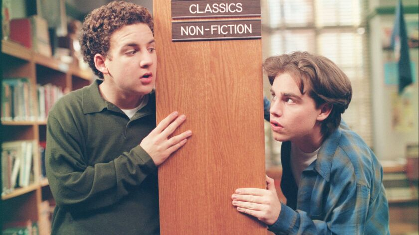 """Ben Savage, left, as Cory, and Rider Strong as Shawn in an episode of """"Boy Meets World"""" that aired in 1996."""
