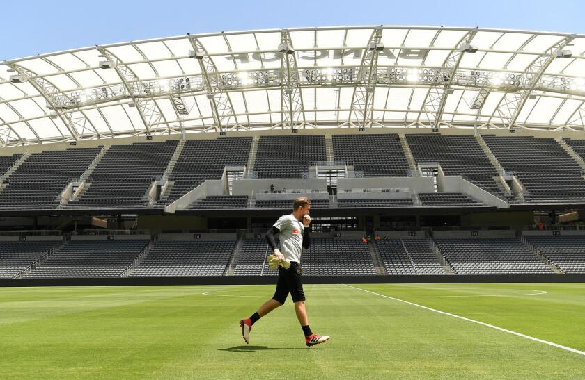 LAFC goalkeeper Tyler Miller prepares for a training session at Banc of California Stadium.