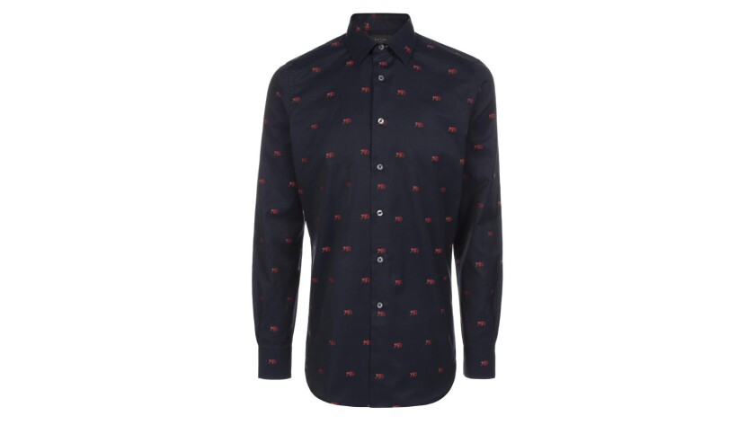 Paul Smith cotton twill monkey-patterned button-down