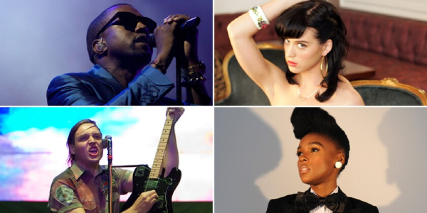 Clockwise from top left: Kanye West (Associated Press), Katy Perry (Bob Chamberlin / Los Angeles Times) Arcade Fire (Robert Gauthier / Los Angeles Times) and Janelle Monae (Jennifer S. Altman / For The Times).