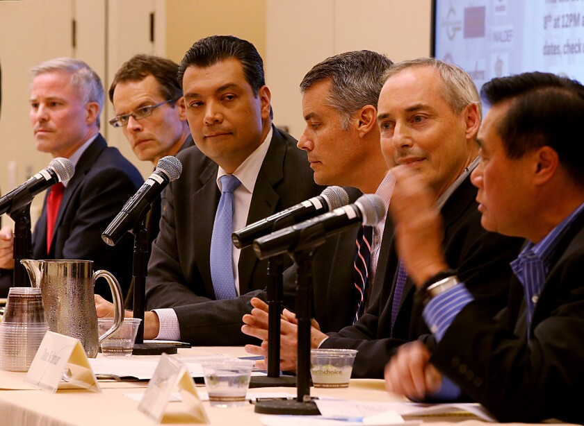 The crowded field of candidates for the office of the secretary of state of California includes, from left: Derek Cressman, David Curtis, Alex Padilla, Pete Peterson and Dan Schnur; Leland Yee has dropped out of the race. Not included in the photo are candidates Jeff Drobman and Roy Allmond.