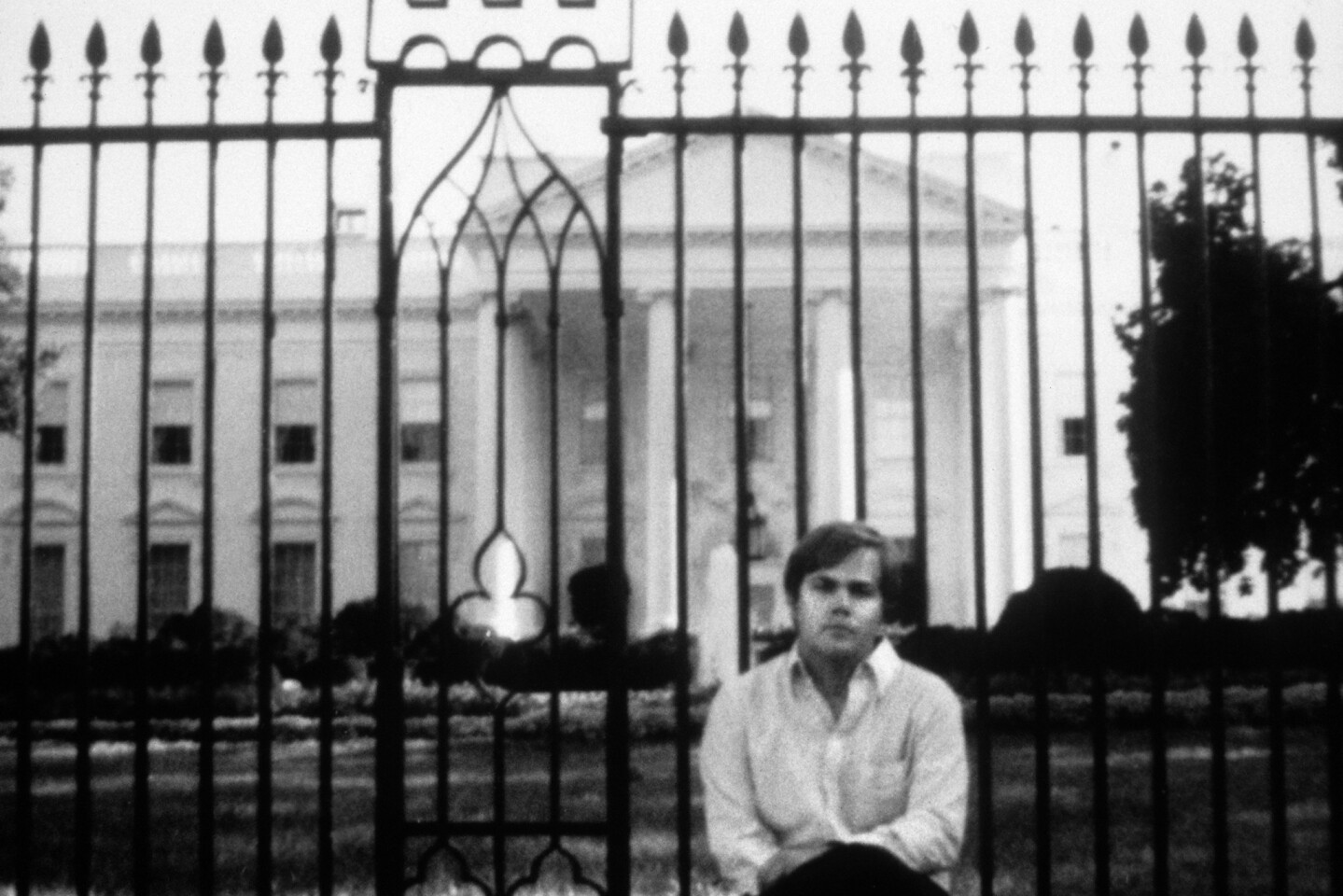 Picture taken in front of the White House of John Hinckley Jr., who attempted to assassinate President Reagan in Washington on March 30, 1981, as the culmination of an effort to impress actress Jodie Foster. He was found not guilty by reason of insanity and has remained under institutional psychiatric care since.