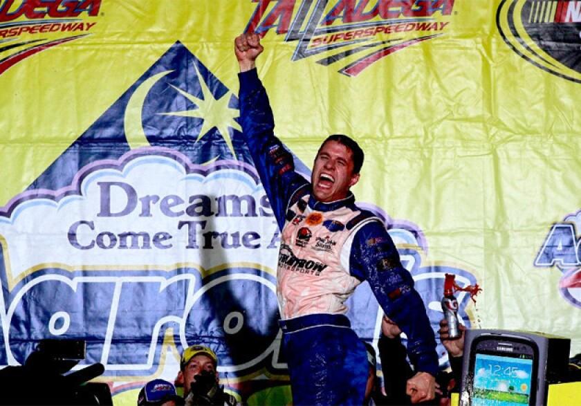 David Ragan celebrates in victory lane after winning at Talladega Superspeedway on Sunday.