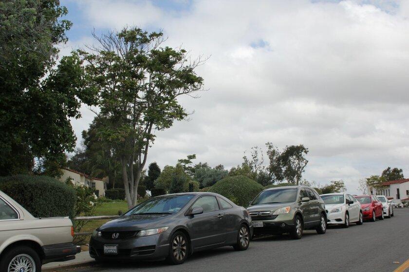 A village street full of cars. Photo by Karen Billing