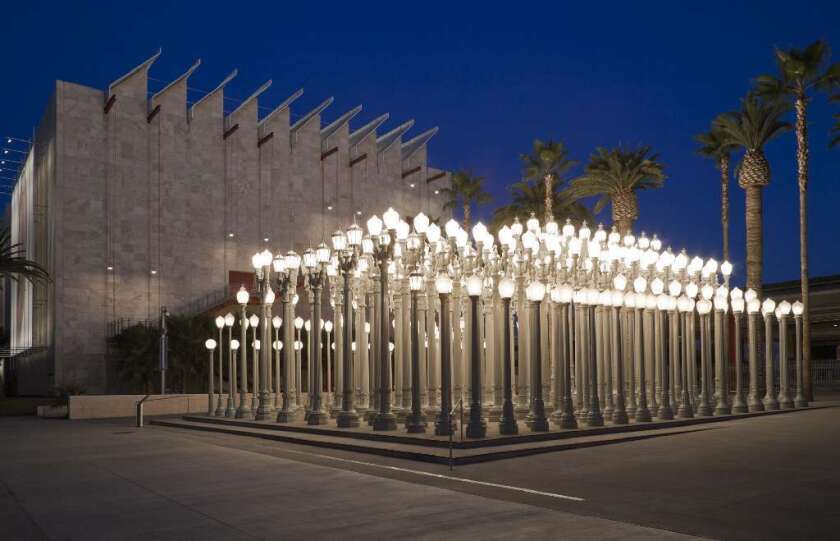 """Chris Burden's """"Urban Light"""" installation is already a free attraction at the Los Angeles County Museum of Art. LACMA is among 20 Southern California museums that will be offering free general admission on Jan. 25."""
