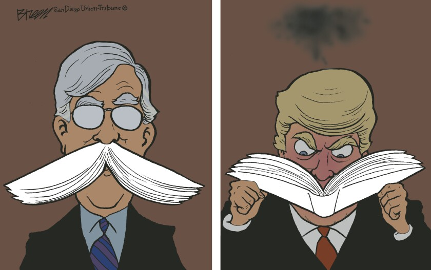 Bolton's mustache is highlighted white in first panel and matches book Trump is angrily reading in second panel of cartoon