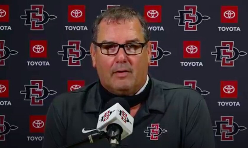 San Diego State head coach Brady Hoke said the Aztecs are on target to begin walk-throughs Friday and fall practice Aug. 7.