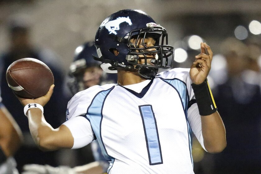 Otay Ranch quarterback Kyle Hawkins was a dual threat in 2012, passing for 2,215 yards and 17 TDs and rushing for 850 yards and seven scores.